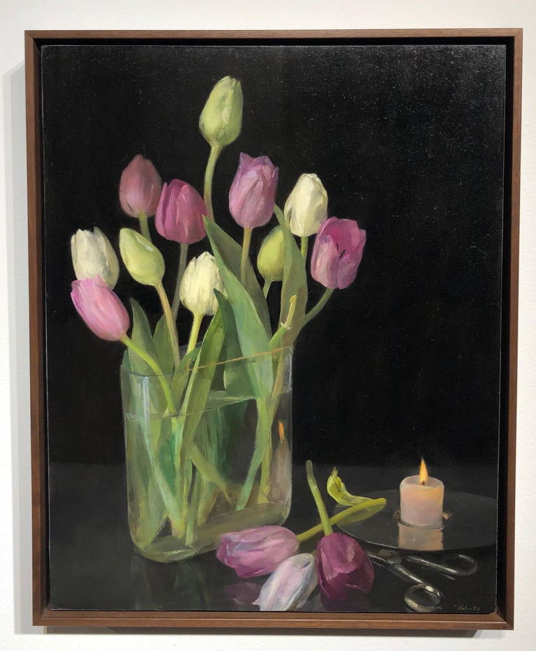 Still Life with Tulips, Glass Vase of Pastel Tulips, Scissors & Burning Candle - Painting by Helen Oh