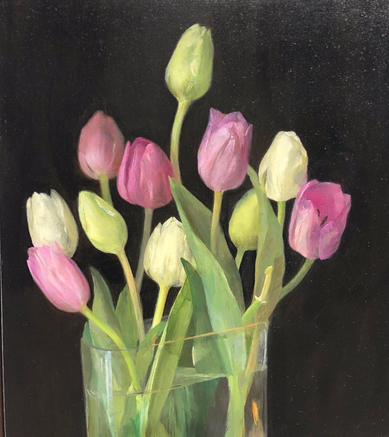 Still Life with Tulips, Glass Vase of Pastel Tulips, Scissors & Burning Candle - Realist Painting by Helen Oh