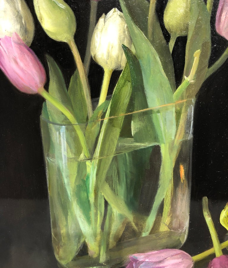 Still Life with Tulips, Glass Vase of Pastel Tulips, Scissors & Burning Candle - Black Still-Life Painting by Helen Oh