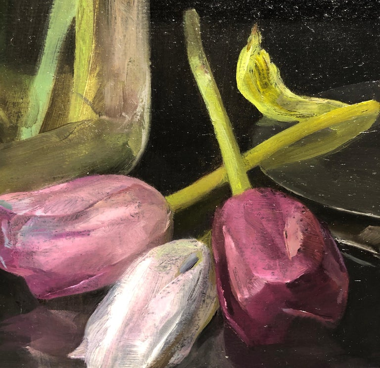 Still Life with Tulips, Glass Vase of Pastel Tulips, Scissors & Burning Candle For Sale 1