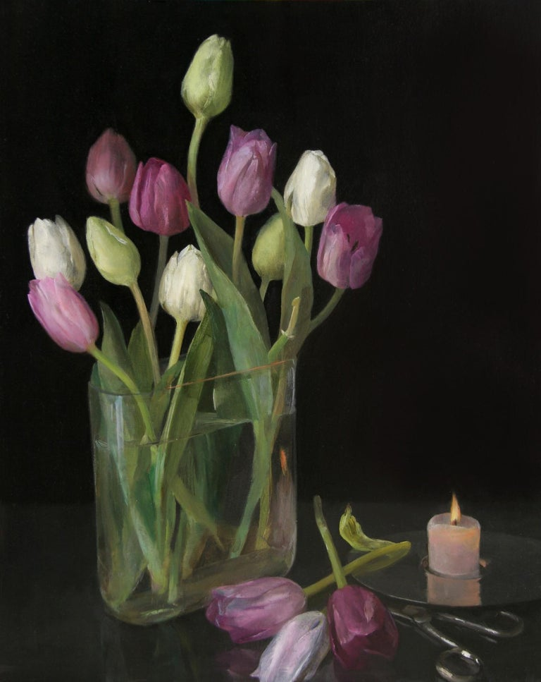Helen Oh Still-Life Painting - Still Life with Tulips, Glass Vase of Pastel Tulips, Scissors & Burning Candle