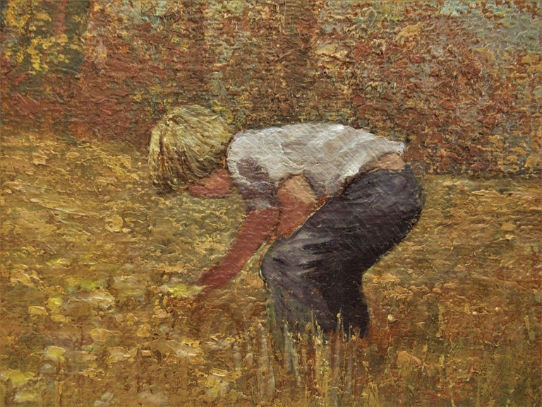 Boy Picking Flowers - Painting by Helen Rayburn Caswell