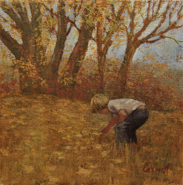 Helen Rayburn Caswell Landscape Painting - Boy Picking Flowers