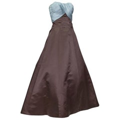 Helen Rose Blue and Brown Ball Gown with Detachable Bouquet Train - Small, 1962