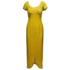 Helen Rose Yellow 60s Beaded Evening Dress