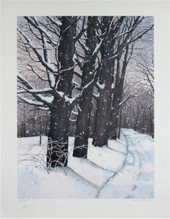 """""""Country Lane,"""" original color winter landscape lithograph by Helen Rundell"""