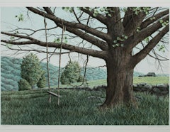 """""""New Hampshire Green,"""" original color landscape lithograph by Helen Rundell"""
