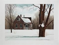 """North Fork,"" original color winter landscape lithograph by Helen Rundell"