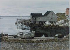 """Peggy's Cove,"" Original Color Lithograph of a Marina signed by Helen Rundell"