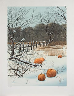 """Pumpkin Field,"" Original Color Lithograph Winter Scene signed by Helen Rundell"
