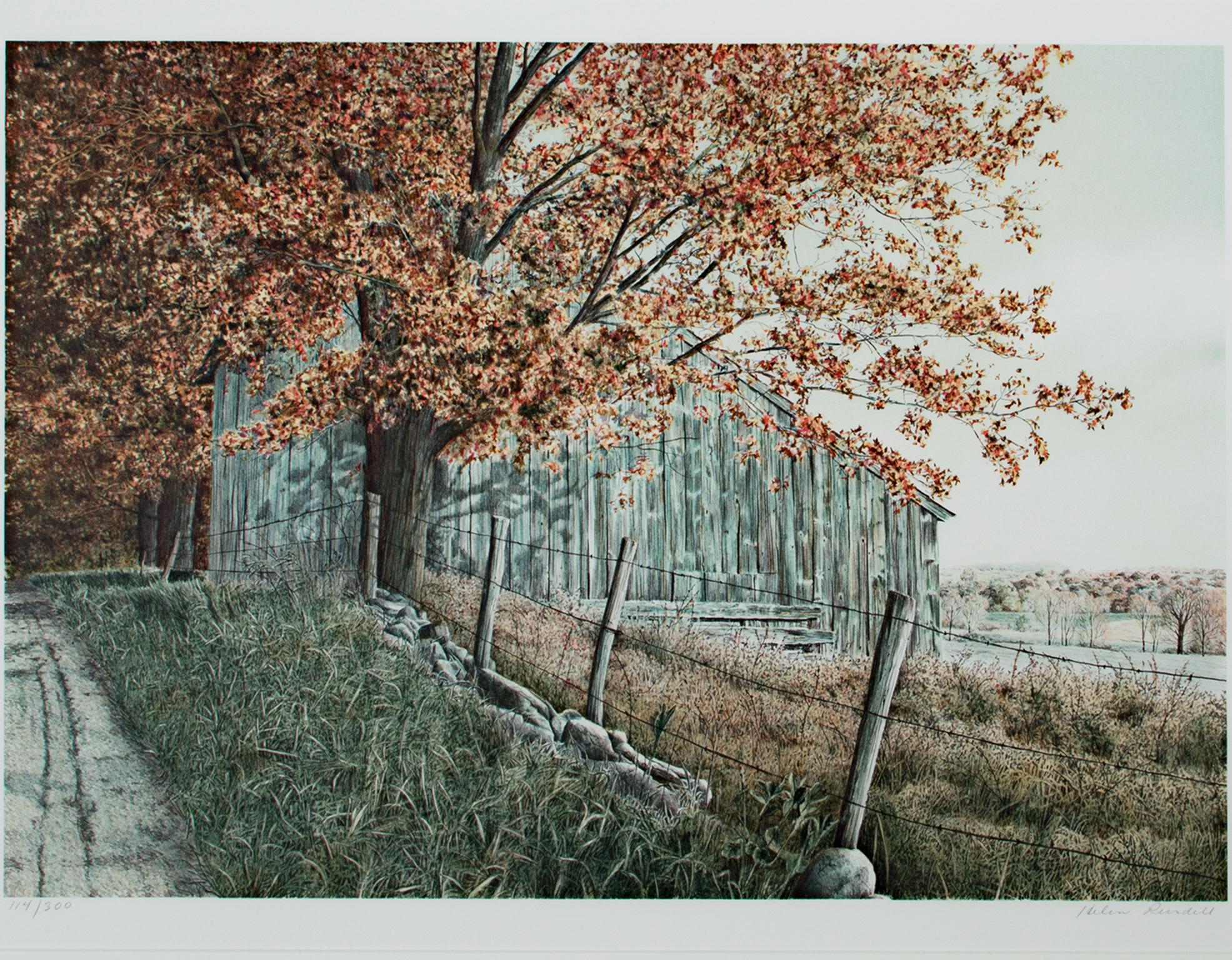 """""""Round the Bend,"""" Original Autumn Landscape Lithograph signed by Helen Rundell"""