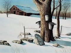"""Sugaring Off,"" original color lithograph winter farm landscape by H. Rundell"
