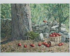 """""""Windfalls,"""" original color forest with apples lithograph by Helen Rundell"""