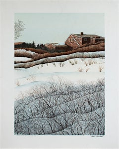 """""""Wintering Over Fire Island,"""" lithographic landscape poster by Helen Rundell"""