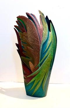 Helen Shirk Sculpture Hand Crafted Studio Vessel, Copper Patina, Colored Pencils
