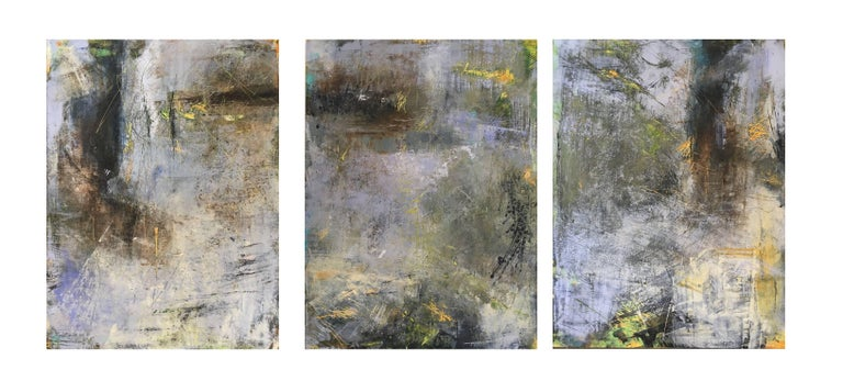 Eiderdown Hour, Abstract Triptych, Oil and Cold Wax on Panel