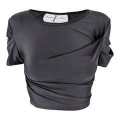 Helen Storey Vintage Black Jersey Avant Garde Pleated Crop Top
