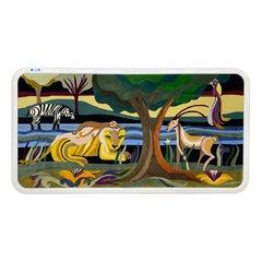 Helen Webber Signed Monumental Large Custom Framed Jungle Scene Woven Tapestry