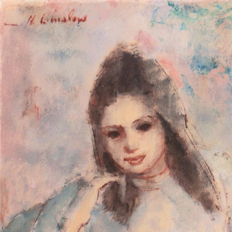 'Young Woman Seated', Art Students League, New York, Otis Art Inst., Los Angeles - Painting by Helen Winslow