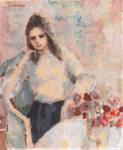 'Young Woman Seated', Art Students League, New York, Otis Art Inst., Los Angeles
