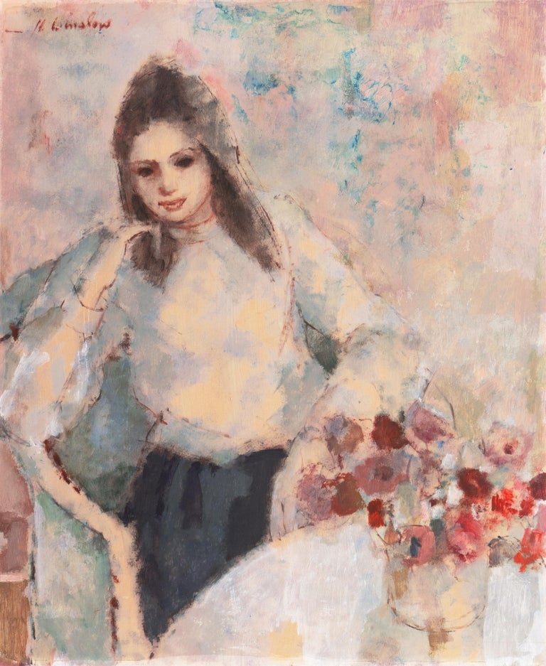 Helen Winslow Still-Life Painting - 'Young Woman Seated', Art Students League, New York, Otis Art Inst., Los Angeles