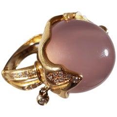 Helen Yarmak 18 Karat Golden Ring with Diamonds and Pink Quartz