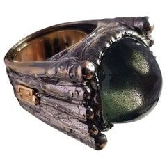 Helen Yarmak 18 Karat White and Yellow Gold and Star Sapphire Ring