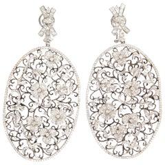Helen Yarmak 18 Karat White Gold and Diamond Filigree Earrings