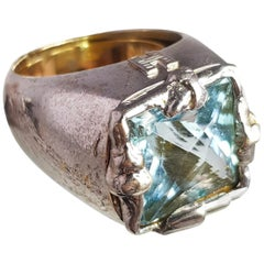 Helen Yarmak 18 Karat Gold And Silver Ring With Blue Sapphire