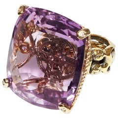 """Helen Yarmak """"Art of Love"""" Collection 18Kt Gold Amethyst and Diamond Ring"""