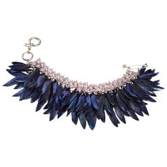 Helen Yarmak Designer 18 karat White Gold, Diamond, and Pink Sapphire Bracelet