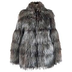 Helen Yarmak Silver Fox Jacket with Hook Closure
