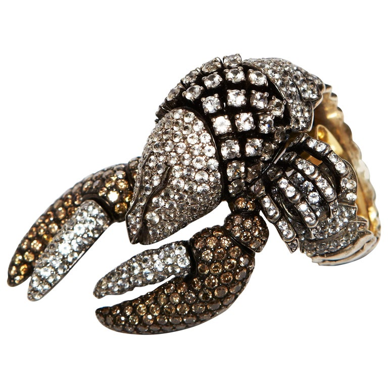"""Helen Yarmak Sterling Silver, Diamond and Sapphire """"Crab"""" Form Ring For Sale"""