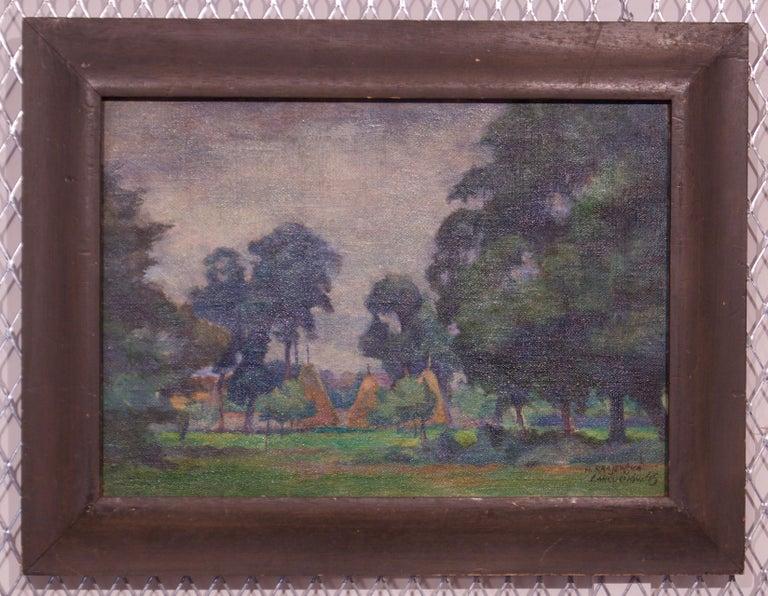 Łańcuchów Village - Mid 20th Century Oil Landscape by Helena Krajewska - Poland - Painting by Helena Malarewicz-Krajewska
