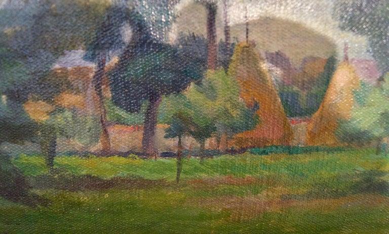 Łańcuchów Village - Mid 20th Century Oil Landscape by Helena Krajewska - Poland - Impressionist Painting by Helena Malarewicz-Krajewska