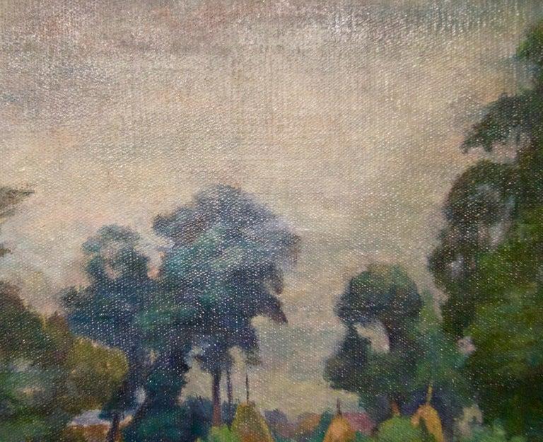 Łańcuchów Village - Mid 20th Century Oil Landscape by Helena Krajewska - Poland - Gray Landscape Painting by Helena Malarewicz-Krajewska
