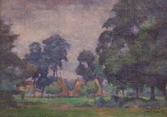 Łańcuchów Village - Mid 20th Century Oil Landscape by Helena Krajewska - Poland