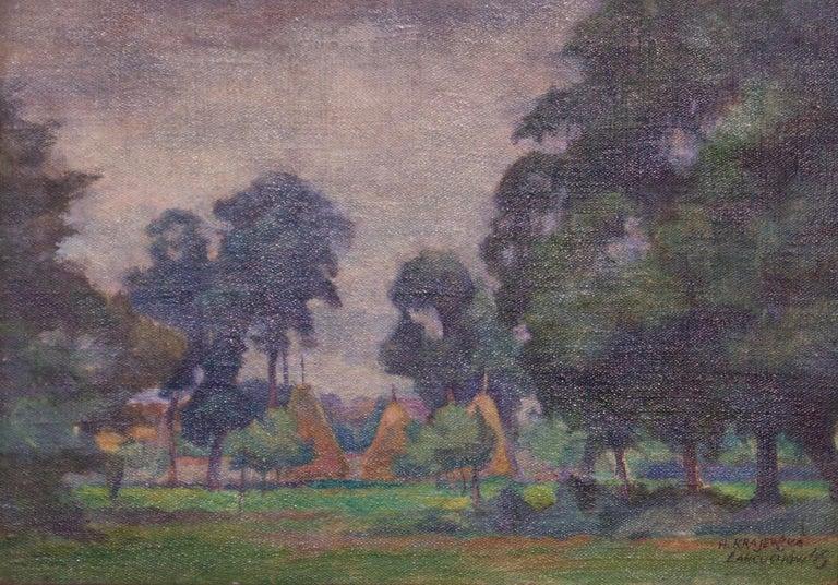 Helena Malarewicz-Krajewska Landscape Painting - Łańcuchów Village - Mid 20th Century Oil Landscape by Helena Krajewska - Poland