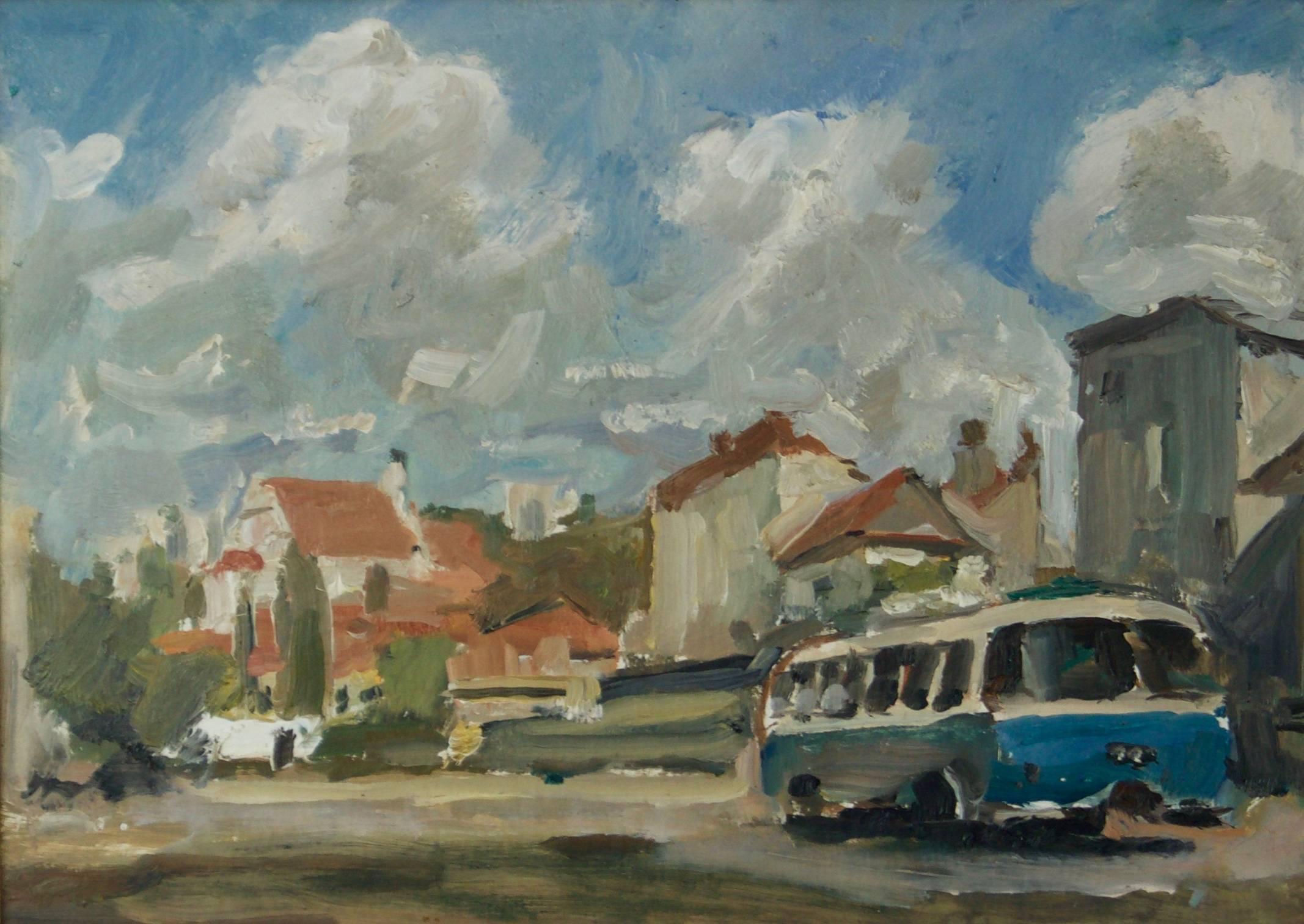 Kazimierz in Poland - Mid - Late 20th Century Impressionist Oil by Krajewska