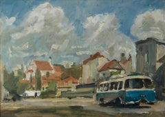 Kazimierz in Poland - Mid - Late 20th Century Impressionist Oil by Krajewska