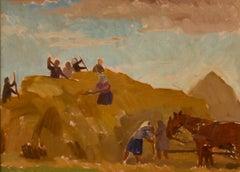 """Laszczyn"" Building a Stack 2 - Mid 20th Century Oil Painting by H Krajewska"