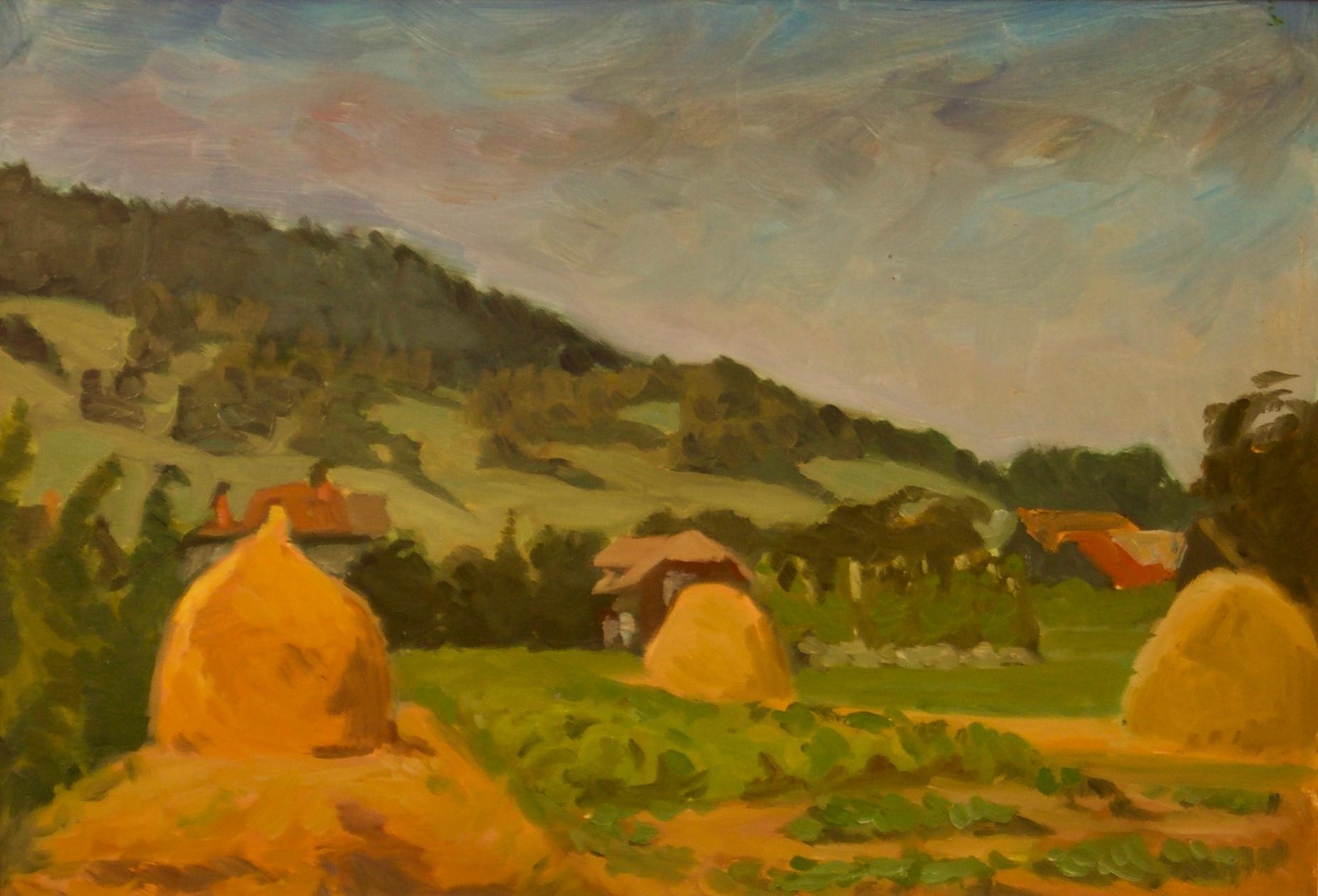 Pogorze Foothills - Mid 20th Century Oil Painting by Helena Krajewska - Poland