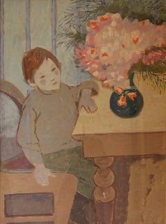 Polish Boy - Impressionist Mid 20th Century Oil Painting by Helena Krajewska