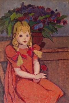 Polish Girl - Impressionist Mid 20th Century Oil Painting by Helena Krajewska