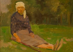 Polish Woman - Impressionist Mid 20th Century Oil Painting by Helena Krajewska