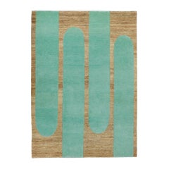 "Helena Rohner Rectangular Wool and Jute ""Mint Popsycle"" Indian Carpet"