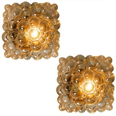 Helena Tynell Amber Bubble Flush Mounts / Wall Sconces for Limburg, 1960s