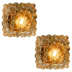Helena Tynell Amber Bubble Flushmounts / Wall Sconces for Limburg, 1960s