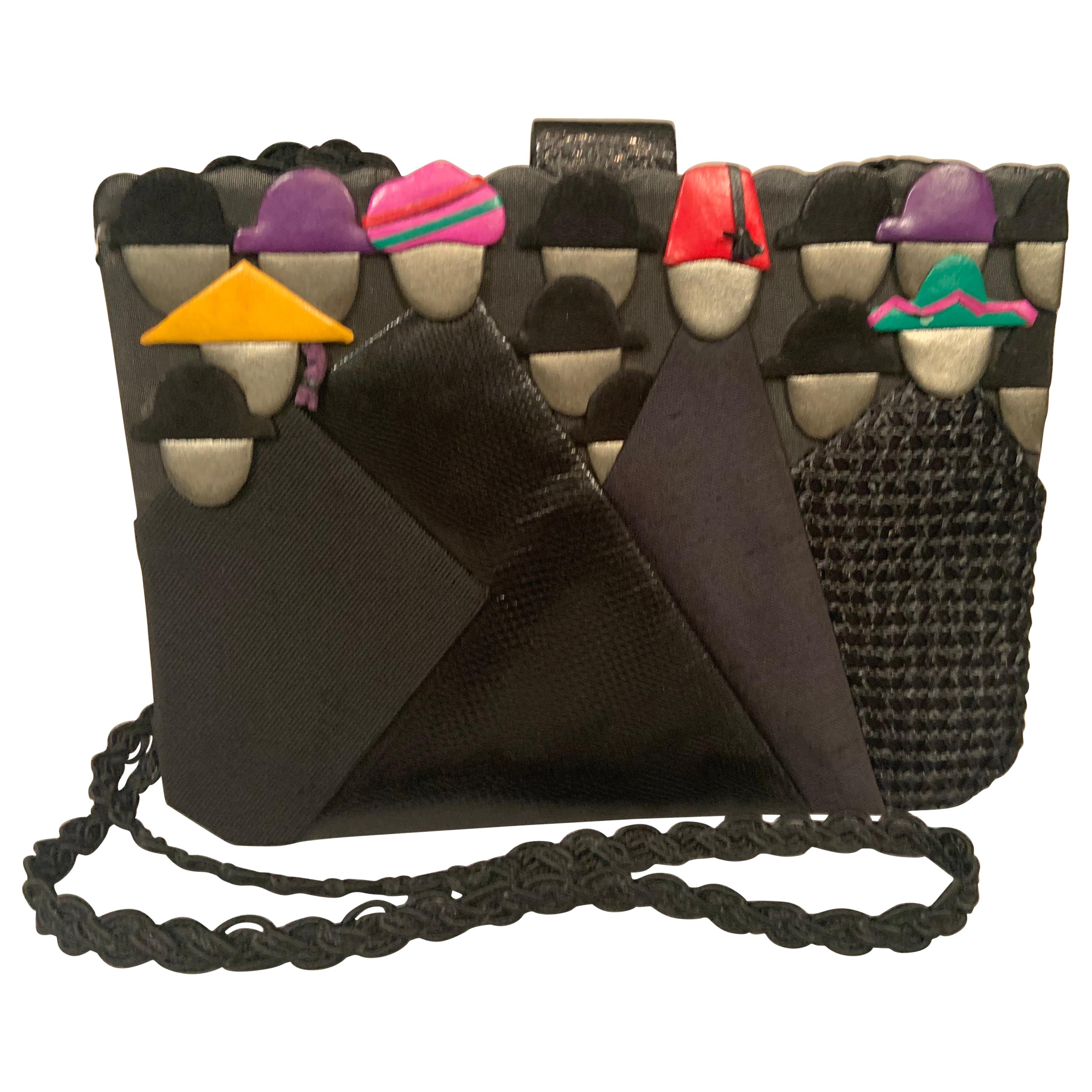 """Helene Angeli  """"Crowd of People""""  Leather and Silk Shoulder Bag"""