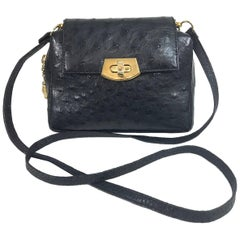 Helene Black Ostrich Cross Body/Clutch handbag Made in Italy 1990s